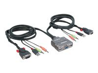 Lindy Dual Port KVM Switch Compact USB Audio (Integrated 1.4M KVM Cable) (Dark Silver)