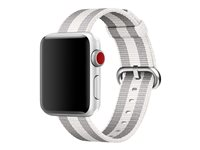 Apple 38mm Woven Nylon Band - Bracelet de montre - 125 - 195 mm - rayure blanche - pour Watch (38 mm)