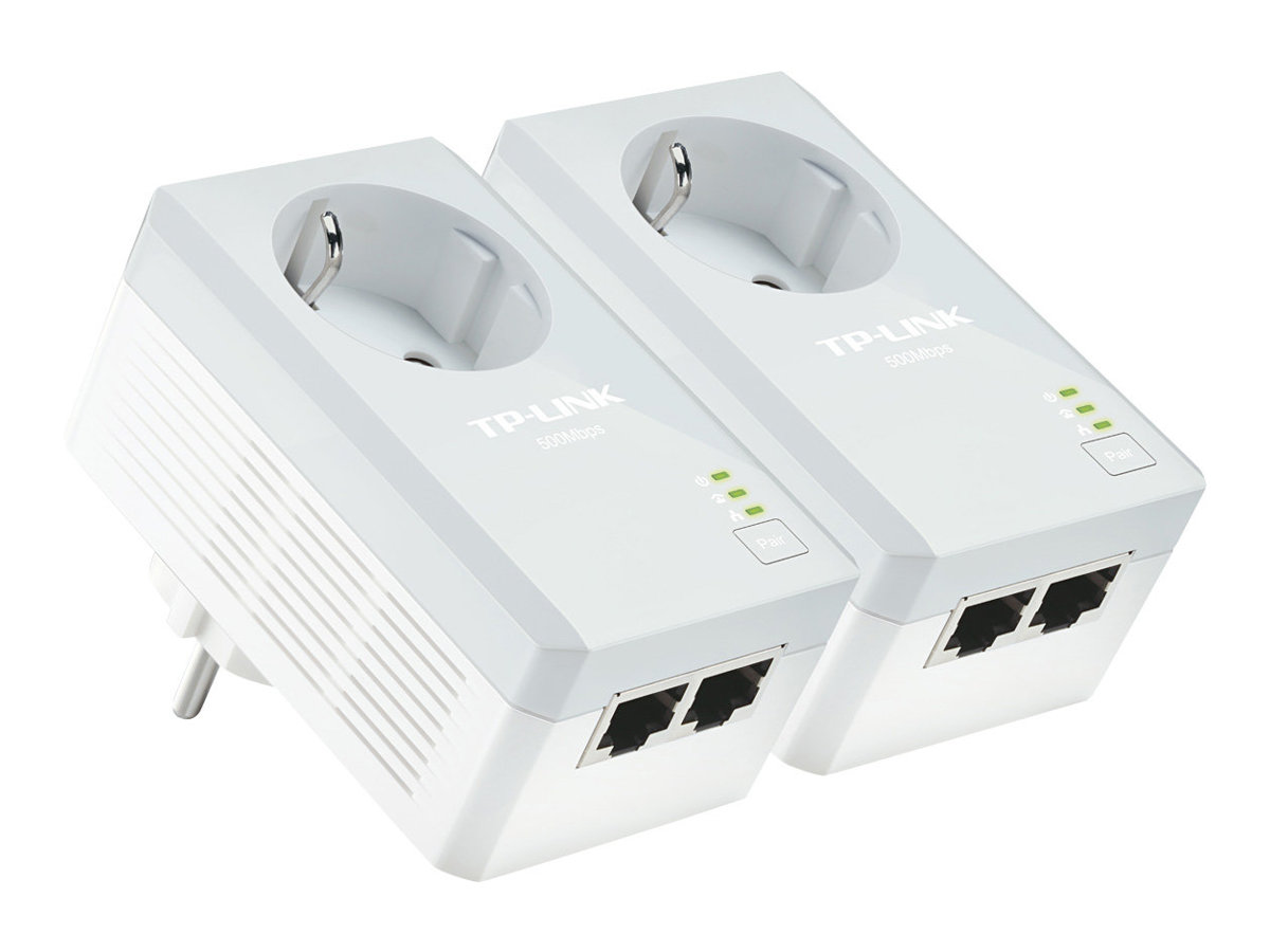 TP-LINK TL-PA4020PKIT AV500 2-Port Powerline Adapter with AC Pass Through - Starter Kit - Bridge - HomePlug AV (HPAV) - an Wandsteckdose anschließbar (Packung mit 2)