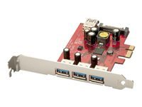 Lindy 3 + 1 Port USB 3.0 Card (PCI Express (x1)) (USB 3.0 Type A Female (3 x External, 1 x Internal) and 15 Way SATA Power) (Includes Standard and Low profile Brackets)