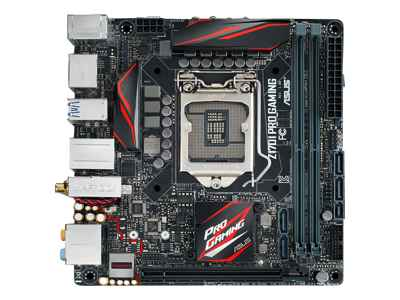 ASUS Z170I PRO GAMING - Motherboard - mini ITX - LGA1151 Socket - Z170 - USB 3.0, USB 3.1 - Bluetooth, Gigabit LAN, Wi-Fi - onboard graphics (CPU required) - HD Audio (8-channel)