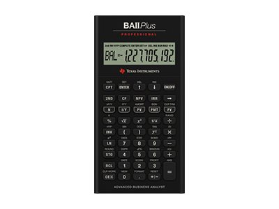 Texas Instruments BAII PLUS PROFESSIONAL Financial calculator 10 digits battery