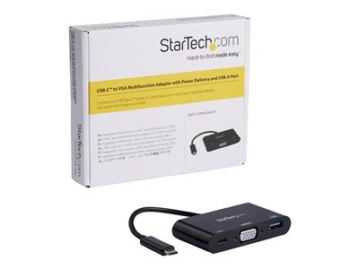 StarTech.com USB-C VGA Multiport Adapter - USB-A Port - with Power Delivery (USB PD) - USB C Adapter Converter - USB C Dongle (CDP2VGAUACP)
