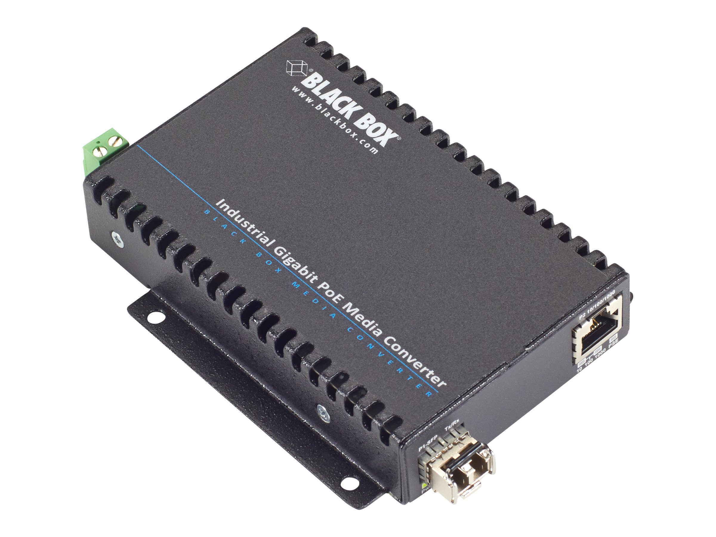 Black Box Industrial PoE Gigabit Ethernet Media Converter - fiber media converter - GigE - TAA Compliant