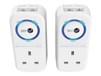 BT Broadband Extender Flex 1000 Kit - Bridge - GigE, HomePlug AV (HPAV) 2.0 - wall-pluggable (pack of 2)