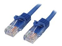 StarTech.com 7 ft Blue Cat5e / Cat 5 Snagless Patch Cable 7ft - Cordon de raccordement - RJ-45 (M) pour RJ-45 (M) - 2.13 m - UTP - CAT 5e - sans crochet - bleu