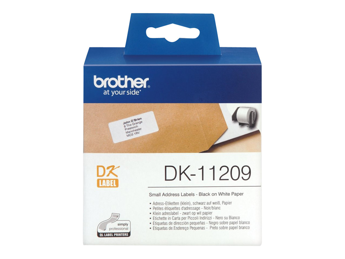 Brother DK-11209 - 800) Adressetiketten - für Brother QL-1050, QL-500, QL-550, QL-560, QL-650, QL-700, QL-710, QL-720, QL-820