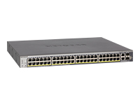 NETGEAR ProSAFE S3300-52X-PoE+ - Switch - smart - 48 x 10/100/1000 (PoE+) + 2 x 10Gb Ethernet + 2 x 10Gb Ethernet SFP+ - rack-mountable PoE+ (390 W) - AC 100/230 V