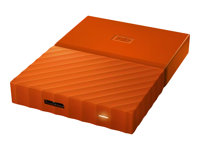WD My Passport WDBYFT0040BOR - Disque dur - chiffré - 4 To - externe (portable) - USB 3.0 - AES 256 bits - orange