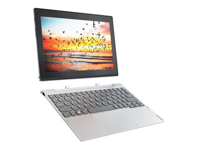 "Lenovo Miix 320-10ICR 80XF - Tablet - with keyboard dock - Atom x5 Z8350 / 1.44 GHz - Win 10 Pro - 4 GB RAM - 64 GB eMMC - 10.1"" touchscreen 1280 x 800 (HD) - HD Graphics 400 - Wi-Fi, Bluetooth - platinum silver"