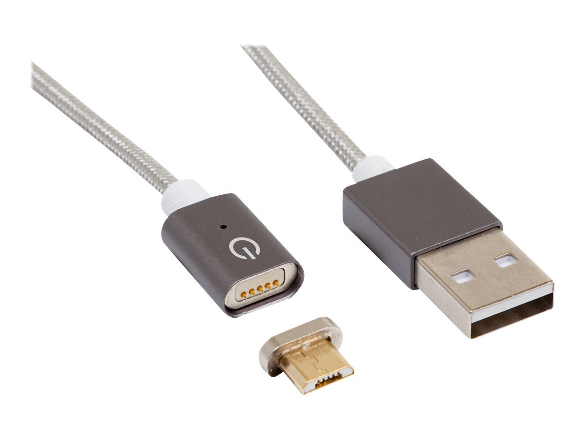 RealPower Magnetic tablet M - USB-Kabel - USB (M) bis Micro-USB Typ B (M) magnetisch - 2.1 A - 1 m - Silber