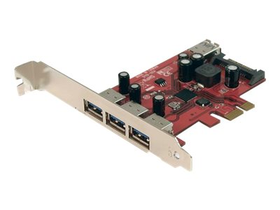 StarTech.com 4 Port SuperSpeed USB 3.0 PCI Express Card with SATA Power - USB adapter - PCIe - 4 ports