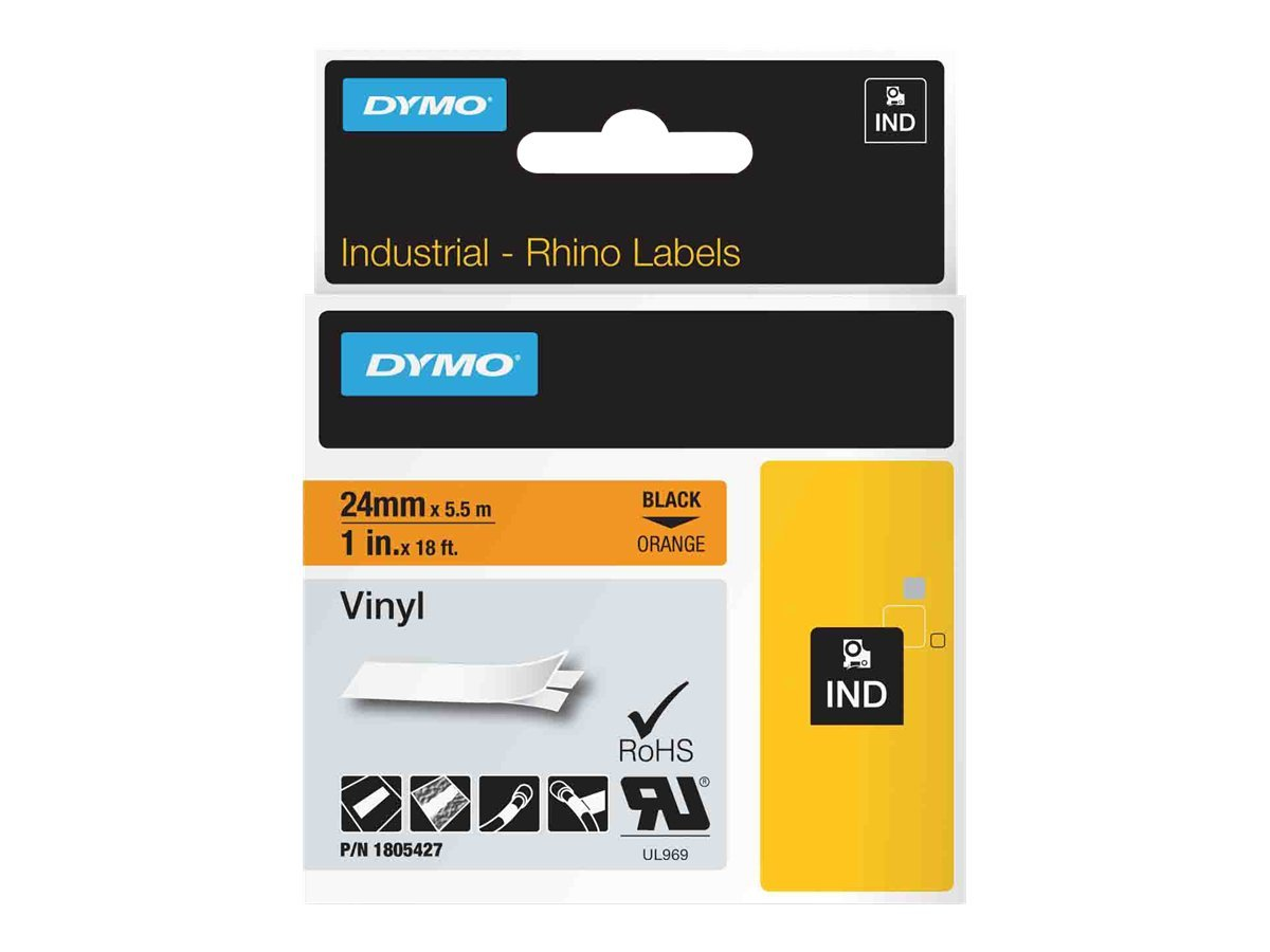 DYMO Rhino Coloured Vinyl - Vinyl - permanenter Klebstoff - Schwarz auf Orange - Rolle (2,54 cm x 5,5 m) 1 Rolle(n) Band - für Rhino 4200, 6000, 6000 Hard Case Kit, 6500; RhinoPRO 6500 Profess