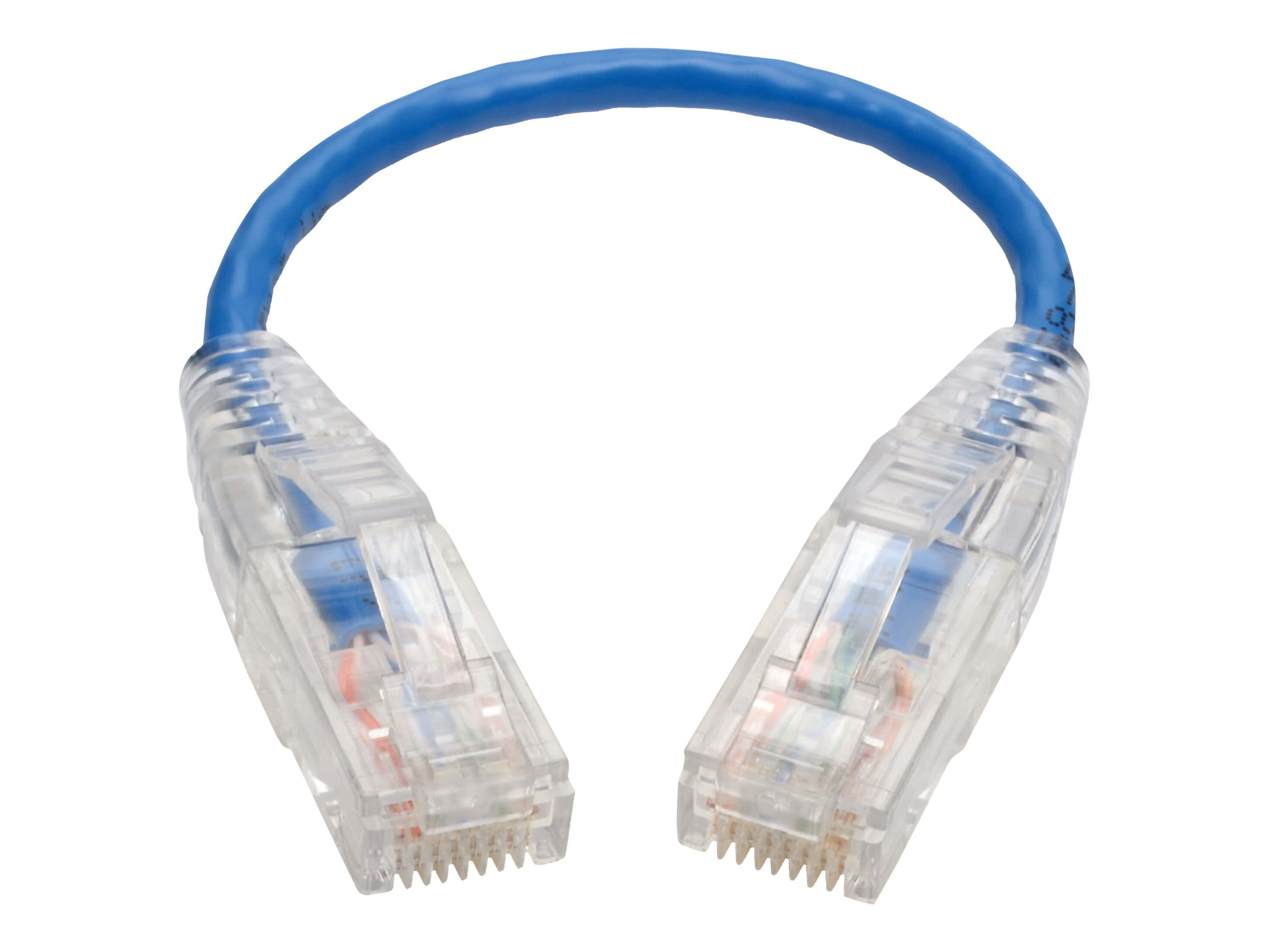 Tripp Lite Cat6 Gigabit Snagless Molded Slim UTP Patch Cable RJ45 Blue 8in - patch cable - 20.3 cm - blue