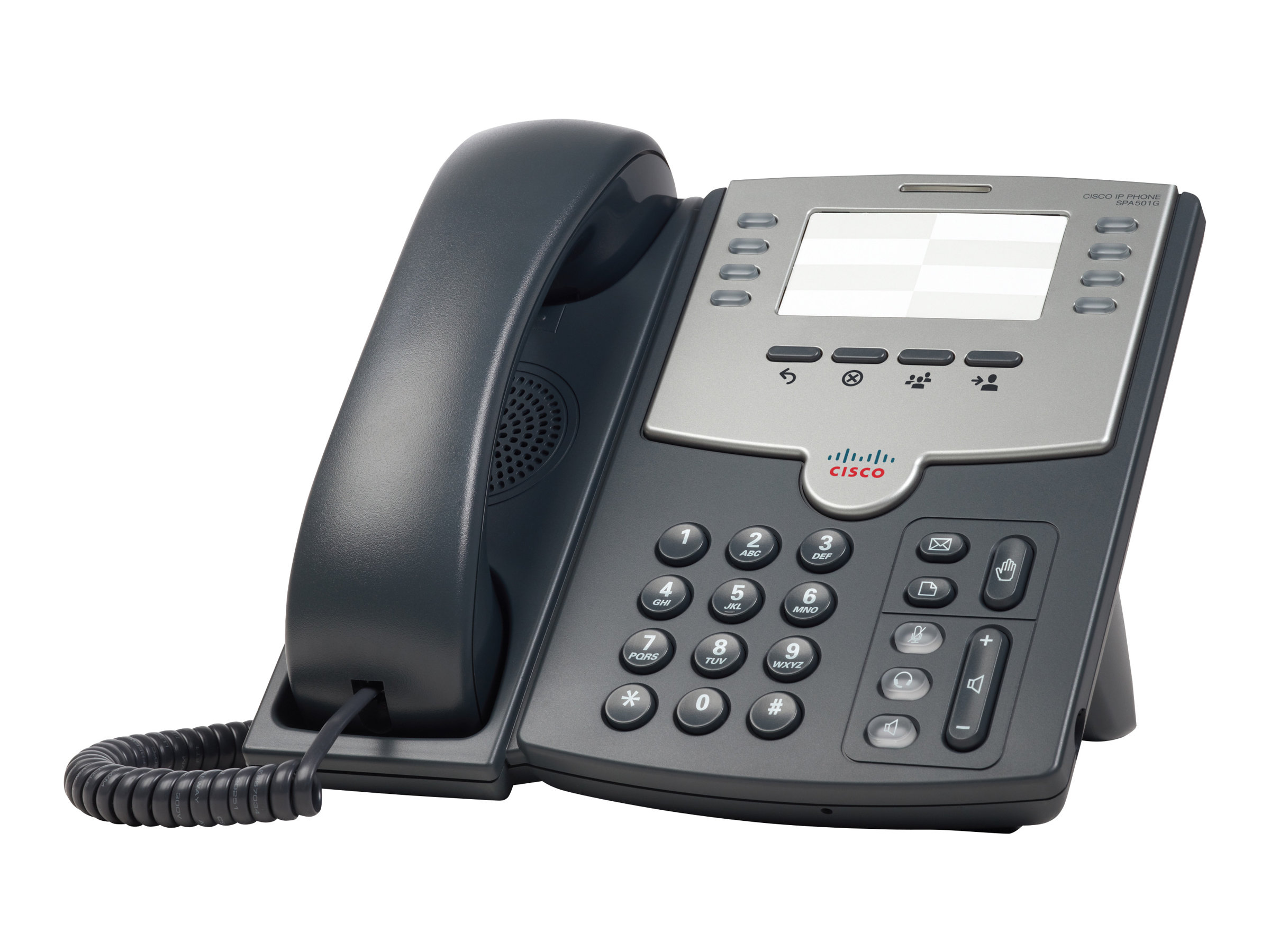 Cisco Small Business SPA 501G - VoIP-Telefon - SIP, SIP v2, SPCP - mehrere Leitungen - Silber, Dunkelgrau - für Small Business Pro Unified Communications 320 with 4 FXO