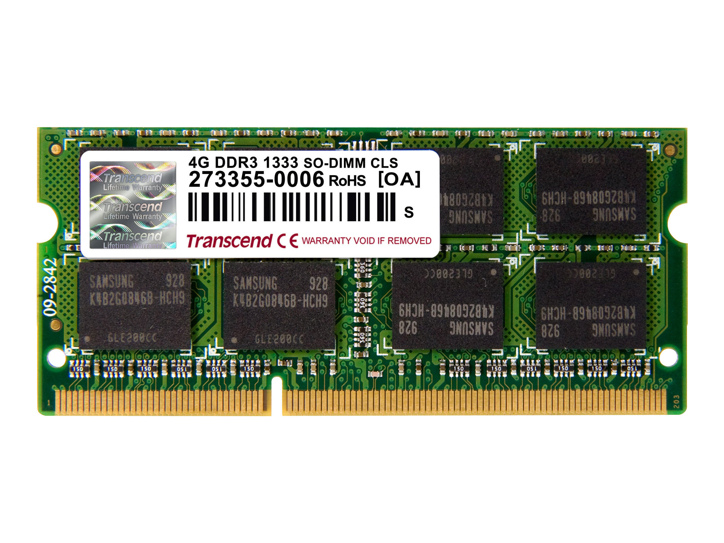 Transcend - DDR3 - 4 GB - SO DIMM 204-PIN - 1333 MHz / PC3-10600 - CL9