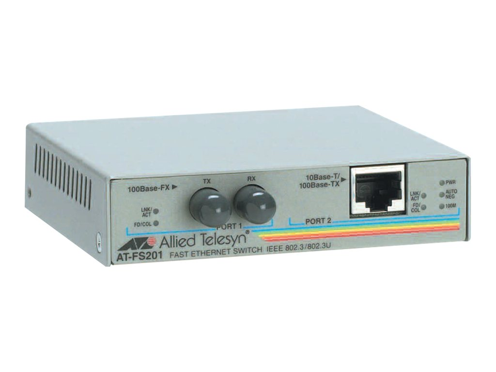 Allied Telesis AT FS201 - Medienkonverter - 100Mb LAN - 10Base-T, 100Base-FX, 100Base-TX - ST multi-mode / RJ-45 - bis zu 2 km