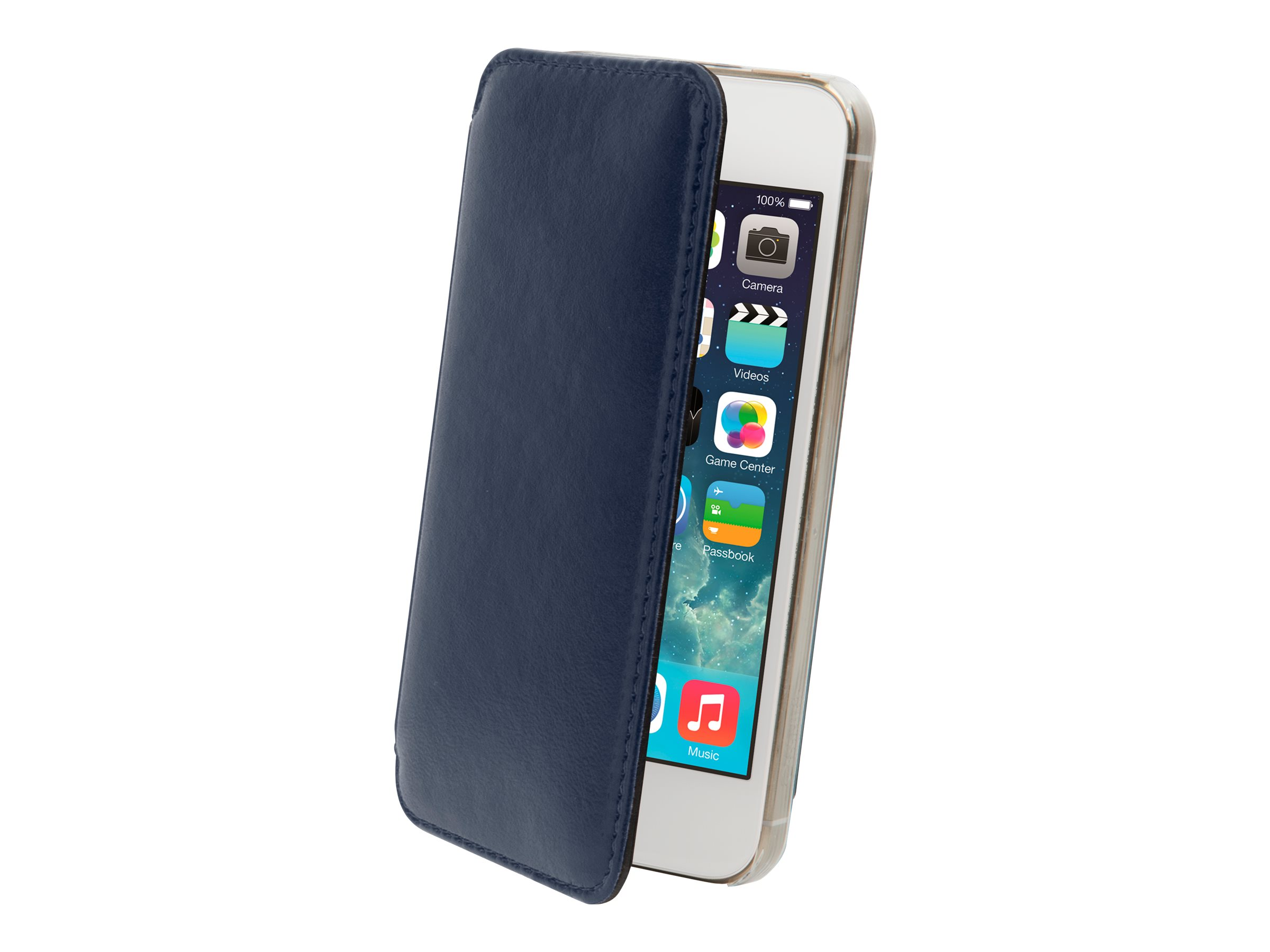 Muvit Made in Paris Crystal Folio - Protection à rabat pour iPhone 5, 5s - bleu nuit luxe