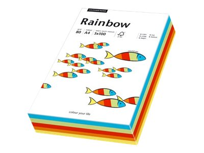 Papyrus Rainbow mixed intensive - Multicolor - A4 (210 x 297 mm) - 80 g/m² - 100 Blatt Normalpapier