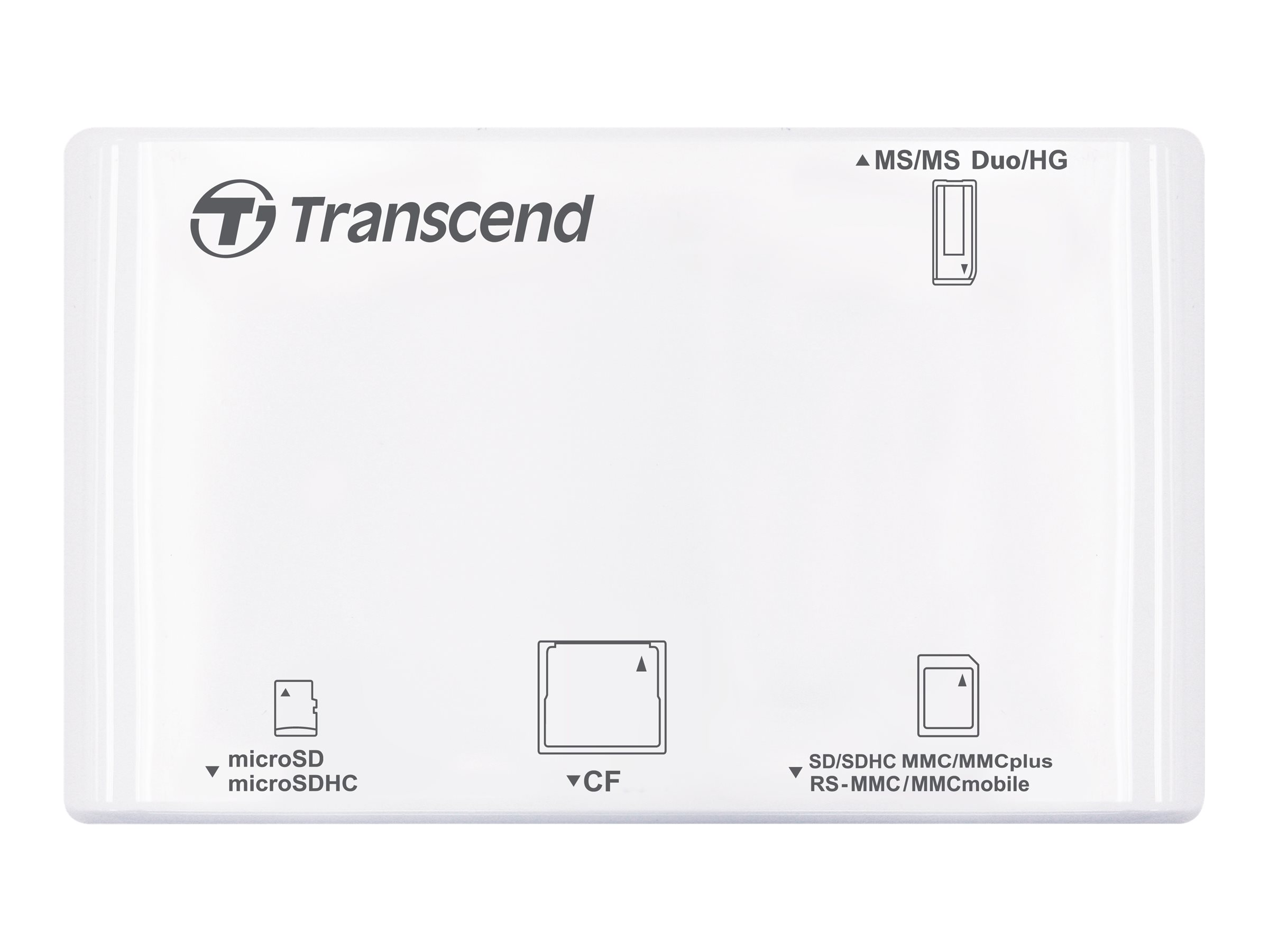 Transcend P8 - Kartenleser - 13 in 1 (CF I, MS, MS PRO, MMC, SD, MS Duo, MS PRO Duo, RS-MMC, MMCmobile, microSD, MMCplus, SDHC, MS Micro, microSDHC, MS PRO-HG Duo) - USB 2.0