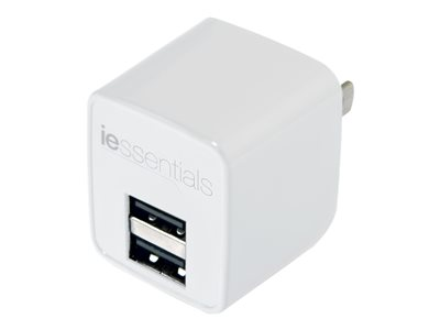 iEssentials Power adapter 2.4 A 2 output connectors (2 x USB) white