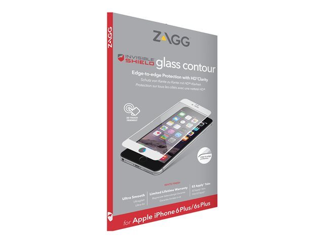 ZAGG InvisibleShield Glass Contour - Protection d'écran - blanc - pour Apple iPhone 6 Plus, 6s Plus
