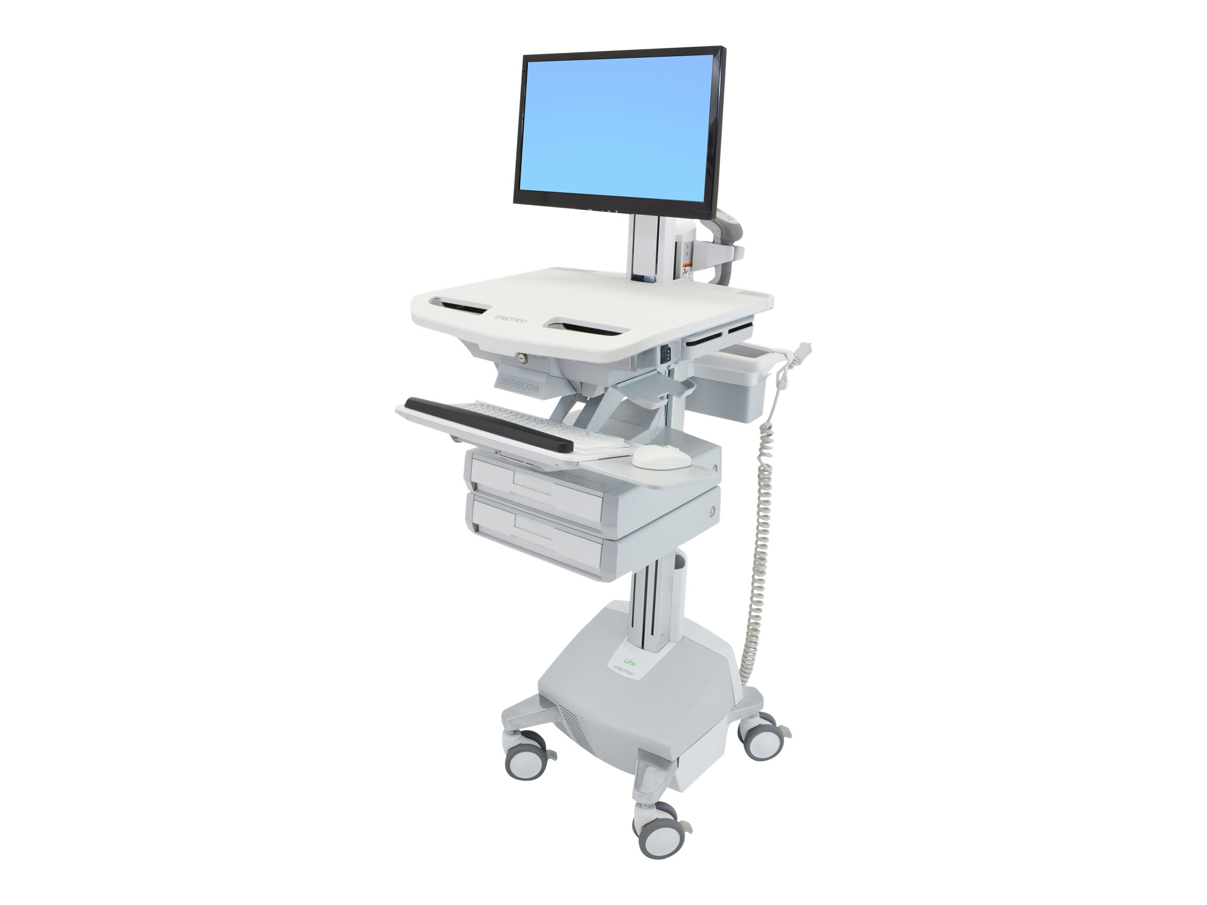 Ergotron StyleView Electric Lift Cart with Pivot, LiFe Powered, 2 Drawers (1x2) - cart (open architecture)