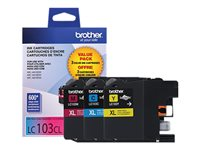 Brother LC-103CL 3-pack High Yield yellow, cyan, magenta original ink cartridge
