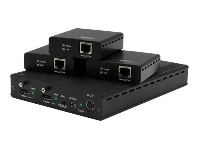 Image of StarTech.com 3-Port HDBaseT Extender Kit w/ Receivers - HDMI over CAT5 - 4K - video/audio extender