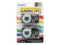 Casio XR-9X2S Black on clear Roll (0.35 in) 2 pcs. tape cartridge