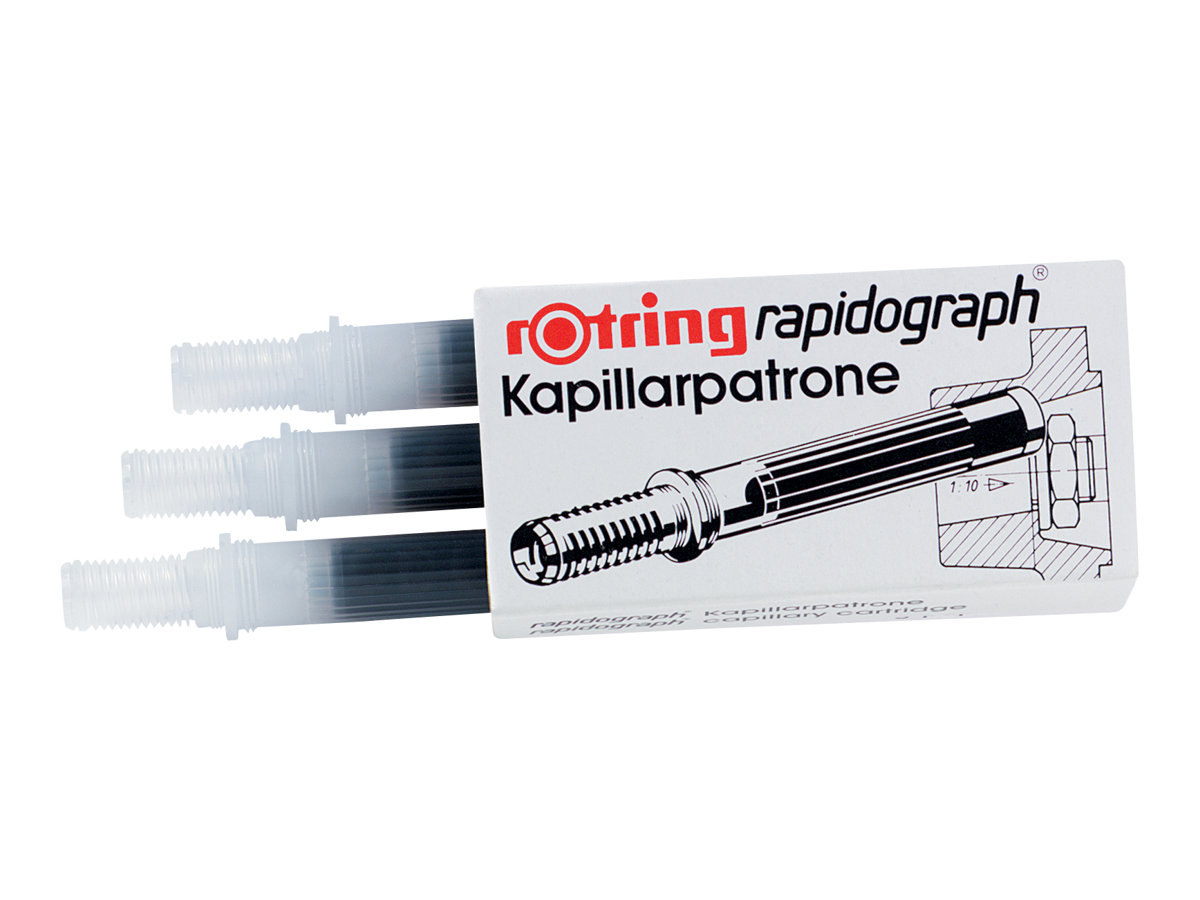 rotring rapidograph 3 cartouches d 39 encre cartouches d. Black Bedroom Furniture Sets. Home Design Ideas