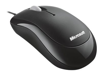 Microsoft Basic Optical Mouse - Mouse - right and left-handed - optical - 3 buttons - wired - USB - black