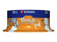 Verbatim - 25 x DVD-R - 4.7 Go 16x - surface imprimable photo large - spindle