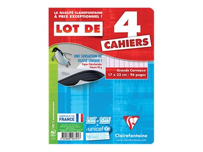 Clairefontaine - 4 Cahiers - 17 x 22 cm- 96 pages - Grands carreaux