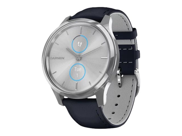 Garmin vívomove Luxe - silver stainless steel - smart watch with band - navy