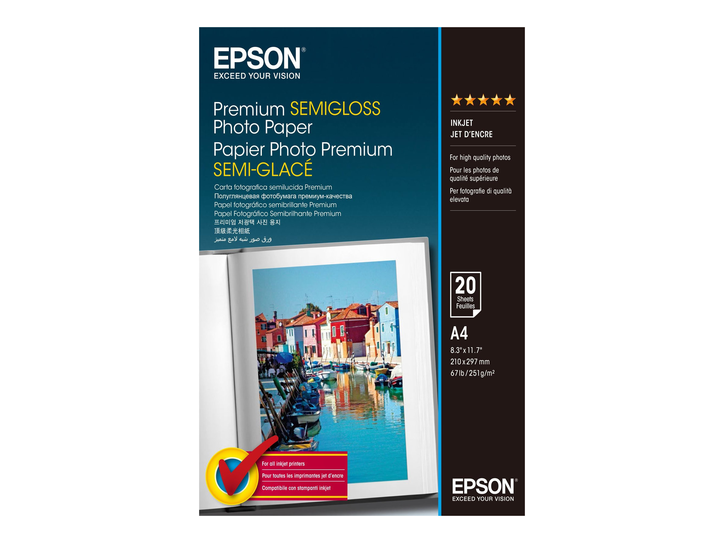 Epson Premium Semigloss Photo Paper - Halbglänzend - A4 (210 x 297 mm) 20 Blatt Fotopapier - für Expression Home HD XP-15000; Expression Premium XP-540, 6000, 6005, 900