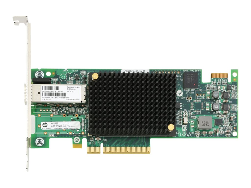 HPE StoreFabric SN1100E - Hostbus-Adapter - PCIe 3.0 x8 Low-Profile - 16Gb Fibre Channel x 1 - für ProLiant DL360p Gen8, DL380p Gen8, DL385p Gen8, ML350p Gen8, XL230a Gen9; StoreEasy 3850