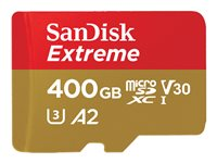 SanDisk Extreme - Carte mémoire flash (adaptateur microSDXC vers SD inclus(e)) - 400 Go - A2 / Video Class V30 / UHS-I U3 - microSDXC UHS-I