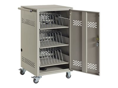 Black Box Steel Top, Fixed Shelves and Hinged Doors Cart for 30 tablets / notebooks steel