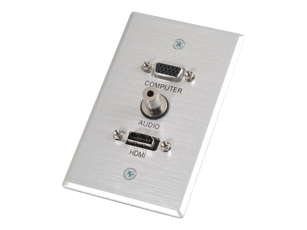 C2G HDMI, VGA and 3.5mm Audio Pass Through Wall Plate Single Gang Brushed Aluminum - mounting plate