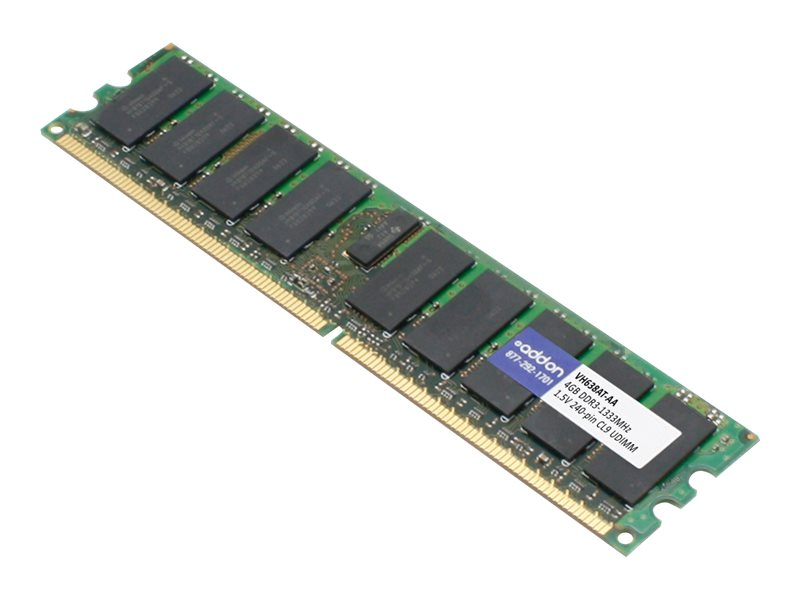 AddOn 4GB DDR3-1333MHz UDIMM for HP VH638AT - DDR3 - module - 4 GB - DIMM 240-pin - 1333 MHz / PC3-10600 - unbuffered