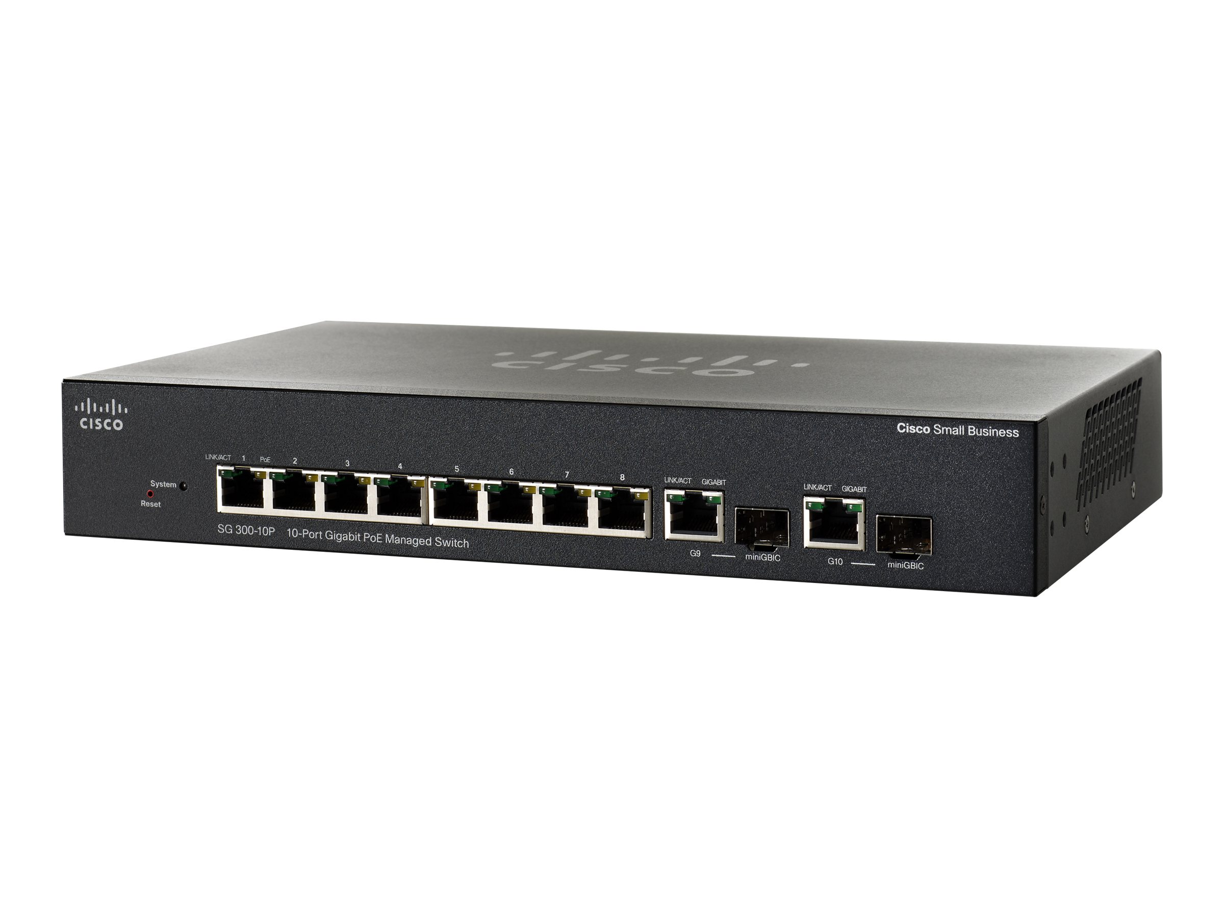 Cisco Small Business SG300-10 - Switch - L3 - verwaltet - 8 x 10/100/1000 + 2 x Kombi-Gigabit-SFP - Desktop