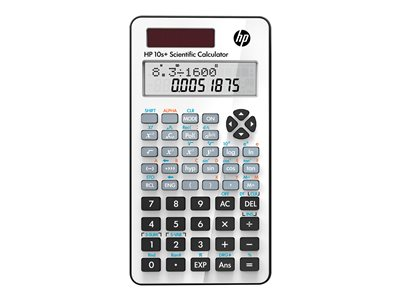 HP 10s+ Scientific calculator 10 digits + 2 exponents solar panel, battery white