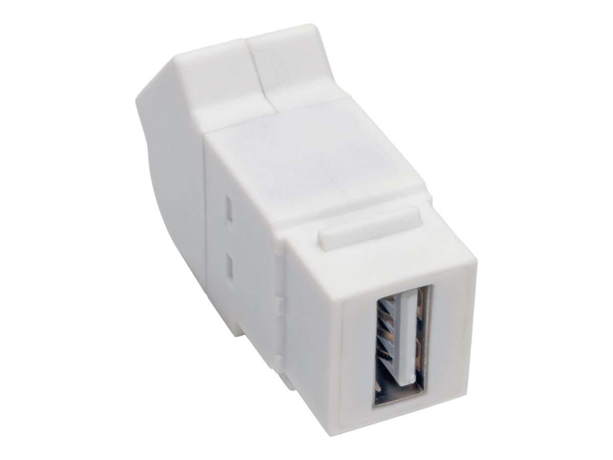 Tripp Lite USB 2.0 All-in-One Keystone/Panel Mount Angled Coupler (F/F), White - USB adapter - USB to USB