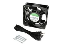 StarTech.com 12cm AC Fan Kit for Server Rack Cabinet - Kit de ventilation pour rack - CA 115 V - noir - pour StarTech.com 12U 19in