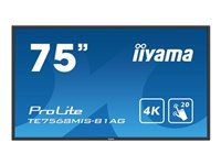 "Iiyama ProLite TE7568MIS-B1AG - 75"" Class (74.5"" viewable) LED display - interactive communication - with touchscreen - 4K UHD (2160p) 3840 x 2160 - direct-lit LED - black"