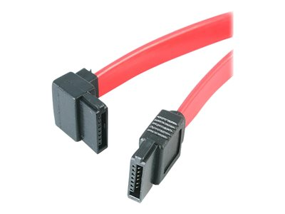 StarTech.com 6in SATA to Left Angle SATA Serial ATA Cable - SATA cable - Serial ATA 150/300/600 - SATA (R) to SATA (R) - 15.2 cm - left-angled connector - red