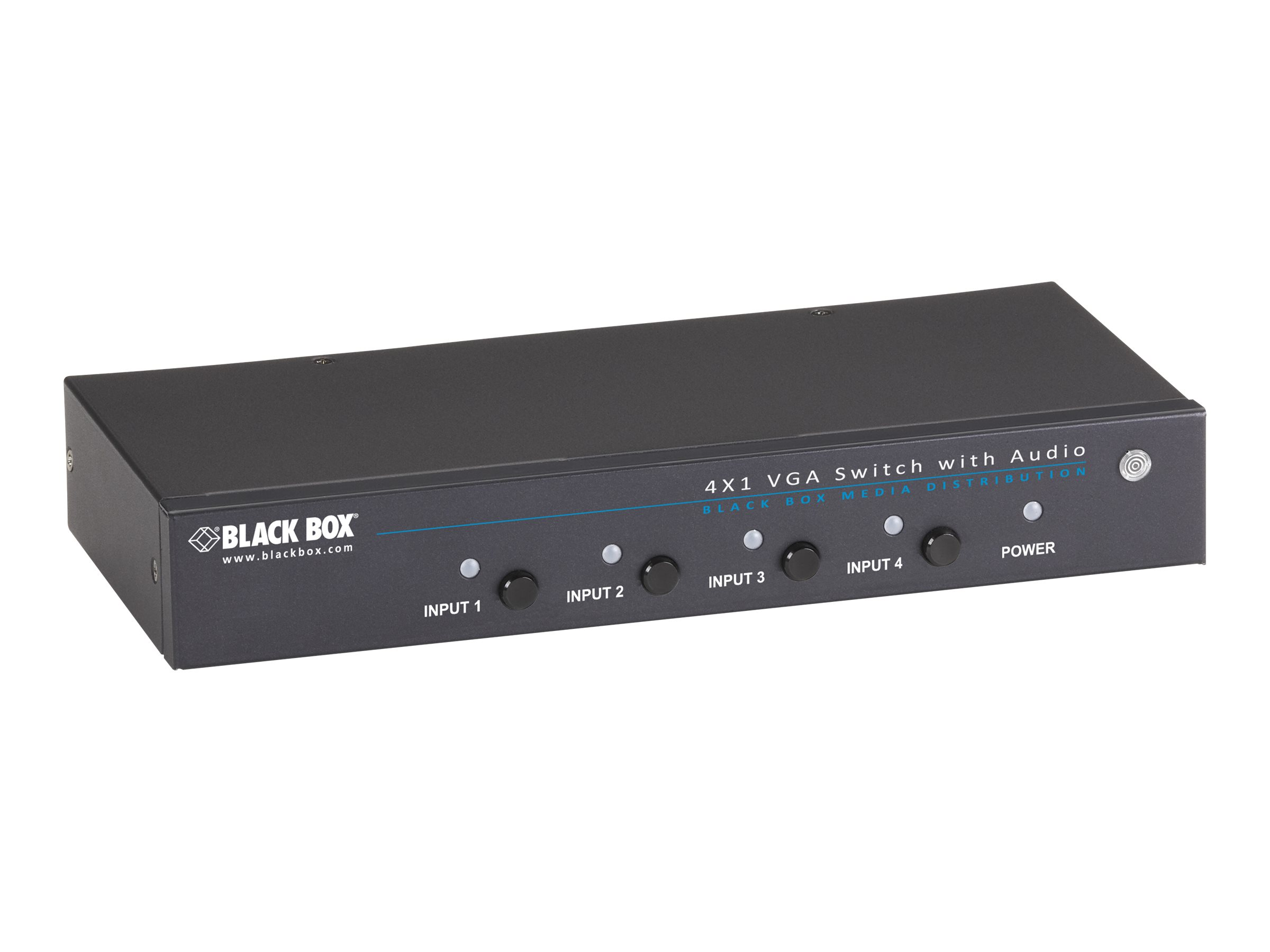 Black Box 4 x 1 VGA Switch with Serial and Audio - monitor/audio switch - 4 ports - rack-mountable