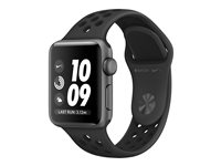 Apple Watch Nike+ Series 3 (GPS) - 38 mm - espace gris en aluminium - montre intelligente avec bracelet sport Nike - fluoroélastomère - anthracite/noir - taille de bande 130-200 mm - 8 Go - Wi-Fi, Bluetooth - 26.7 g
