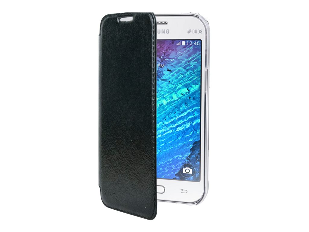 Muvit Made in Paris Crystal Folio Luxe - Protection à rabat pour Samsung Galaxy J1 - noir